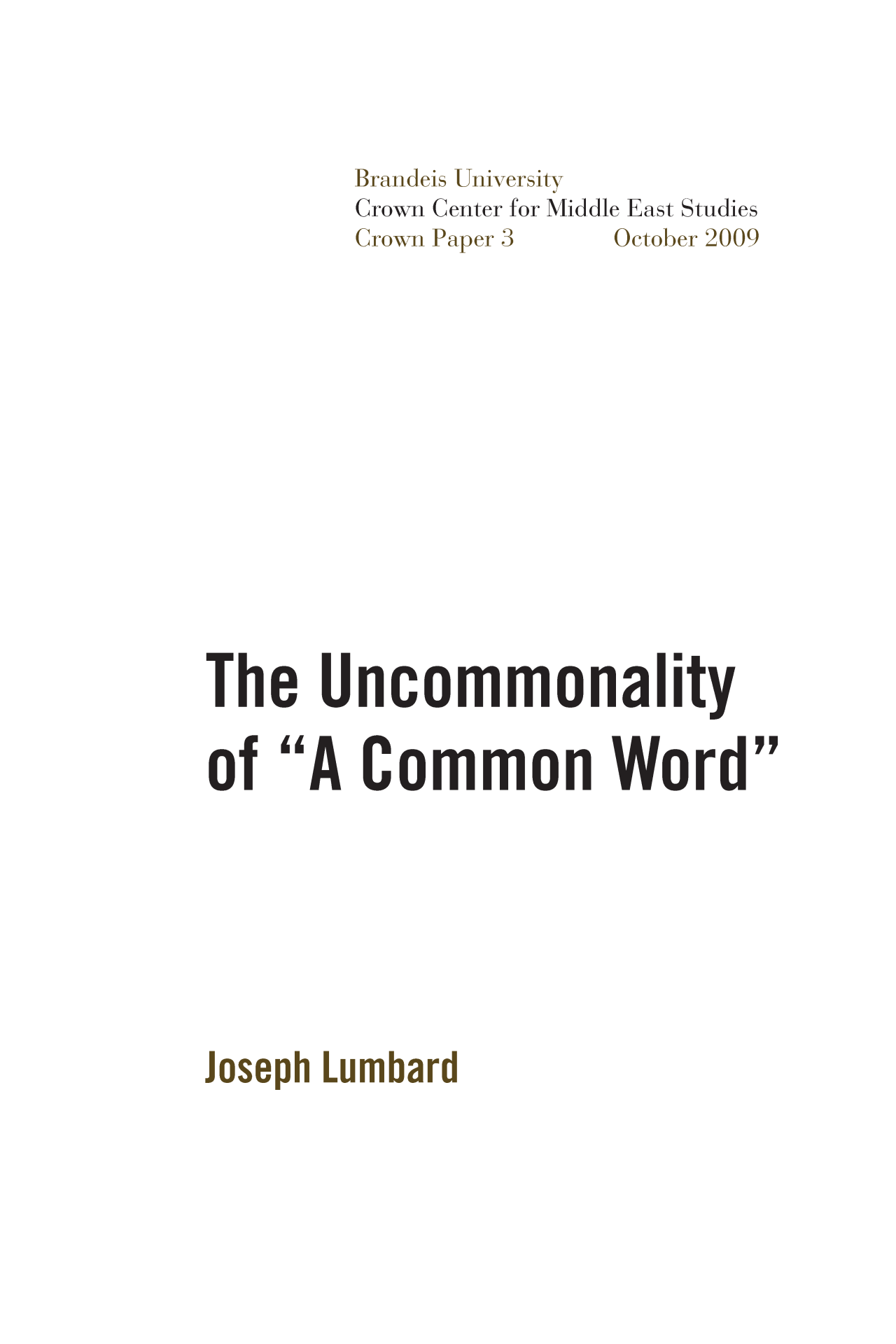 The Uncommonality Of A Common Word